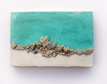 Unique Wall Decor, Beach Theme Decor, Hearts display, Wall Art, Pebble Art, Beach House, Stones Art, Heart Beach Rocks , 3D wall decor gift
