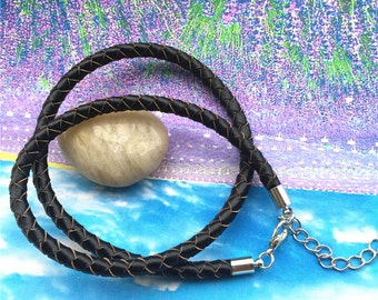 2pcs 16-18 inch adjustable 5mm thickness black genuine(real) braided leather necklace cords with silver lobster clasps and 2 inch extender