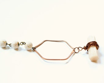 Crystal Necklace, copper necklace, moonstone necklace, gift for her