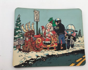 Santa Got Busted by the Police Mousepad by Nible