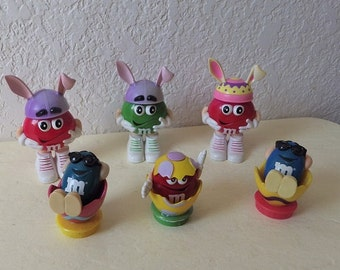 Easter M & M Collectibles, Three Toppers and Three Candy Holders.