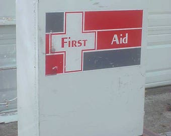 SALE!! Vintage Metal First Aid Medical Kit Cabinet - Great display, Hanging Medicine Cabinet, Industrial, Medical