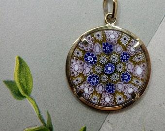 Italian Murano Blue Millefiori Glass & Sterling Vermeil Pendant or Charm   NEC8