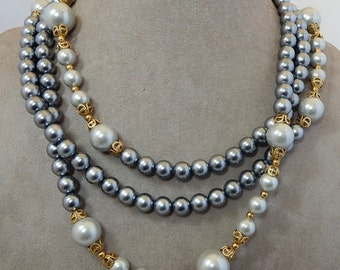 Long Single Strand Smoky Silver Gray Pearl & Filigree Bead Necklace    OJ16