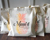 15+ Pineapple Maui Hawaii Just Maui'd Custom Destination Wedding Welcome Tote Bags - Eco-Friendly Natural Cotton Canvas