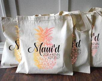 10+ Pineapple Maui Hawaii Just Maui'd Custom Destination Wedding Welcome Tote Bags - Eco-Friendly Natural Cotton Canvas