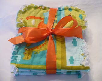 Baby Burp Cloths 3 Piece Set Rag Quilt Burp Towels Baby Boy Modern Dinosaurs Aqua Turquoise Lime Orange Cotton Chenille