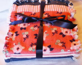 Baby Girl Burp Cloth Set of 3 - Sweet Cottage Chic Flowers and Dots in Bright Coral Navy Blue and White Cotton Chenille Rag Quilted