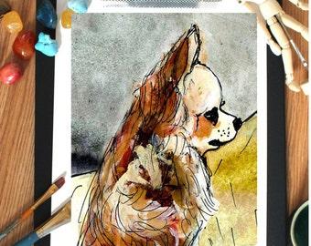 Chihuahua art - chihuahua print - Children's art - Watercolor print - Nursery decor - Dog print - Pet shop decor - Dog painting - Dog art
