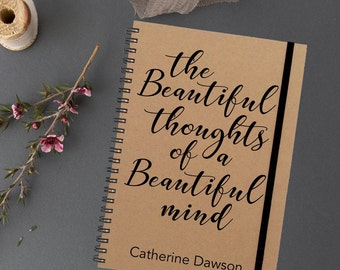 Personalised|Notebook|The Beautiful Thoughts of a Beautiful Mind|Gift for Her|Gift for Friend|Custom Notebook|Journal|Stocking Fille|