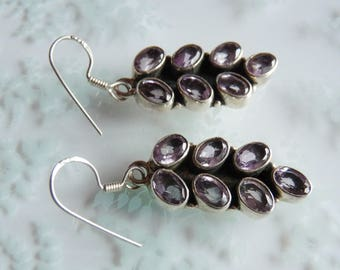 Vintage Sterling Silver Light Purple Amethyst Drop Pierced Earrings