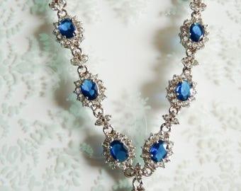 Vintage Sapphire and Diamond Paste Necklace Wedding Bridal Prom