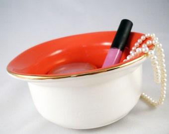 Jewelry Bowl - Make up bowl- Bathroom Catch All Dish - Odds and Ends - Home Decor - Ceramic Jewelry Dish - Bathroom Storage - Organization