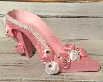 Pink Shimmer High Heel Paper Keepsake Shoe with Pink and White Satin Roses, Art Sculpture, Decoration, Original Design