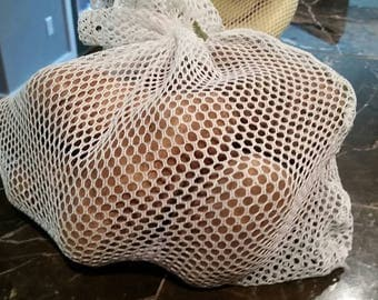 Reusable Mesh Produce Bag with Attached Tie / Pick Quantity / Multiple Sizes Available / Produce Bag / Market Bag / Eco Friendly / Washable