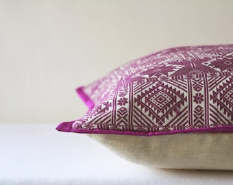 Majenta Woven Peace Silk Pillow Cover , Ahimsa Silk  Pillow Cover in Jacquard Weaving, Purple Decorative Pillow Cover , Silk Throw Pillow