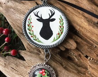 Christmas Deer Ornament, Christmas Ornaments, Hand Painted Deer Silhouette Art, Vintage Style Deer Christmas Ornament