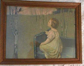 Sweet SPRING SONG & 1st ROBIN Litho Print, Young Girl Singing Bird Woodland Scene Birch Trees 1920 Nostalgic Art, Rustic Nature 14 x18 Frame