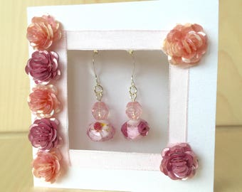 Pink Faceted Crystal Earrings on Sterling Silver Ear Hooks Framed in a Handmade Gift Greeting Card by VZuniga Designs