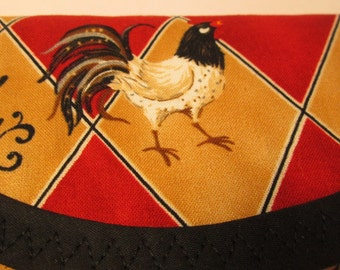 Rooster Bags & Purses Wallet money clip, fabric 7.5 x 3.5 Red Taupe brown black white handbag accessory, Stocking Stuffer, Housewarming gift