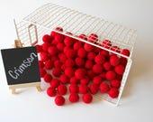 Felt Balls- Crimson Red- 10 Pk- 25mm