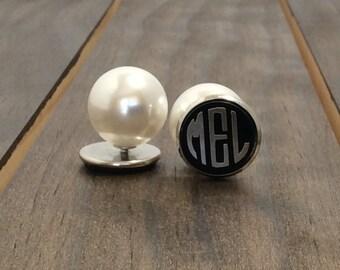 Monogrammed Earrings -Monogrammed Pearl Back Earrings - Monogrammed Acrylic Earrings - Round Acrylic Earrings