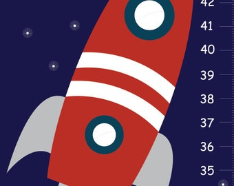 Space Growth Chart, Space Wall Growth Chart, Boys Height Chart,  Kids Growth Chart