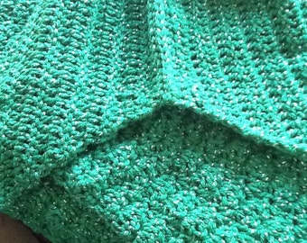 Mermaid Tail Blanket, Ready to Ship, Green Sparkle Goddess, Mermaid Blanket Kids, Mermaid Fin, Crocheted Afghan