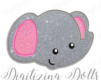 Elephant Applique Embroidery Design 4x4 5x7 6x10 Cute Baby Bama INSTANT DOWNLOAD