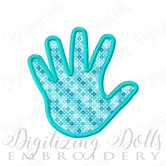 Hand Print Applique Machine Embroidery Design 3x3 4x4 5x5 6x6 baby infant INSTANT DOWNLOAD