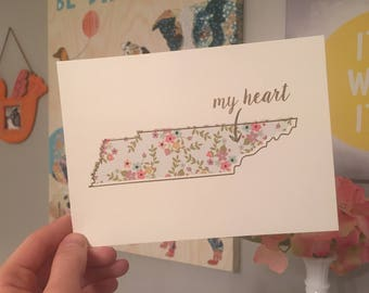 Tennessee Art Print - 5 x 7 - Pastel Floral and Gold