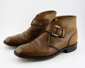 Vintage Florsheim Imperial Brown Leather Side-Buckle Dress Boots - Mens Size 11 D