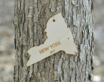 Natural Wood New York State Ornament WITH 2017