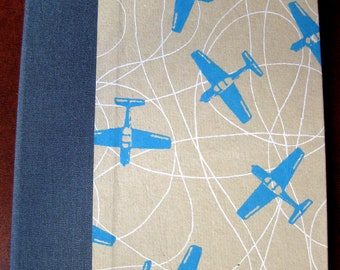 Medium Grid Handbound Hardcover Graph Quad Paper Journal Airplanes