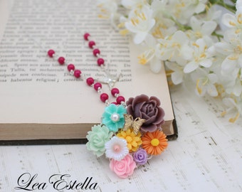 Floral Collage necklace Rainbow necklace Garden necklace Shabby chic Bohemian flower necklace Colourful Flower necklace - Exotic Garden