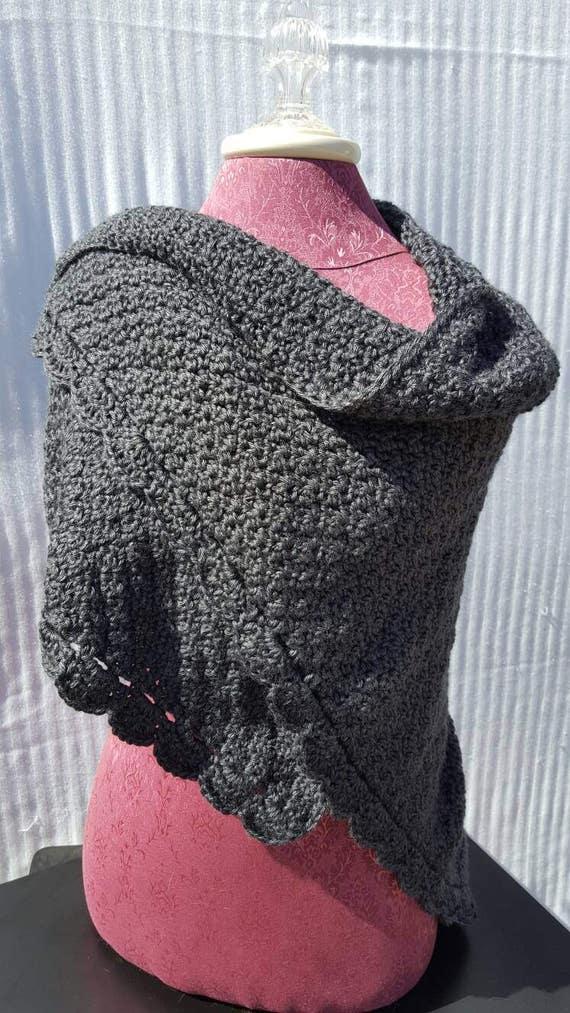 crochet gray shawl, wedding accessory, bridesmaid wrap, warm winter shawl, mothers day wrap - READY TO SHIP