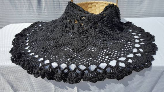 Dramatic crocheted queen size dark gray doily afghan, coverlet,  popcorn throw-READY TO SHIP