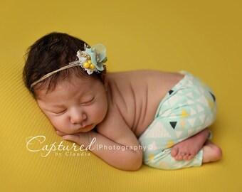 Leighton Heritage Newborn Apparel Baby Triangle Soft Leggie Pants Photography Posing Photo Prop Infant Inspired Mint Knit Leggings Boy Girl