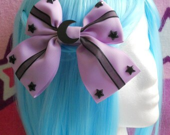 Black moon and stars on colorful ribbon hair bow pastel goth fairy kei