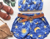 Festival set matching Outfit moons stars celestial blue tube crop top and high waist racer shorts