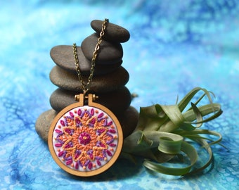 """Sunburst Hand-Embroidered Mandala in Mini-Hoop Necklace, 2.2"""" with Antique Bronze-Plated Chain"""