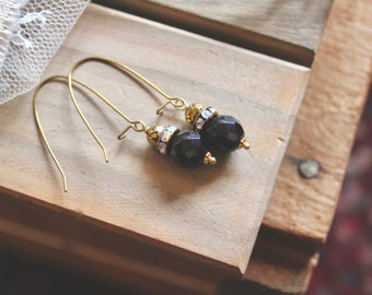 Antiqued golden tone rose bead, rhinestone, and glossy black bead drop earrings, kidney wire earrings