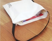 personalized lined zippered TOTE BAG /library bag /book bag/ grocery bag - cotton canvas - cream color black strap