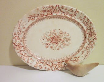 Keeling Victorian Platter, Gloucester K & C, Earthware, Burgundy/Wine, Vintage, Antique