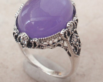 Purple Jade Ring CZ Accents Sterling Silver Size 8.25 Vintage 012017LE