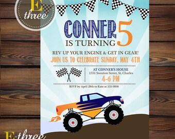Monster Truck Birthday Party Invitation - Boy's Birthday Invite - Navy and Orange