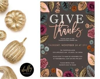 Thanksgiving Dinner Invitation, Thanksgiving Invitation, Thanksgiving Feast invite, Give Thanks Invitation, Thanksgiving Printable 5x7 GRAY
