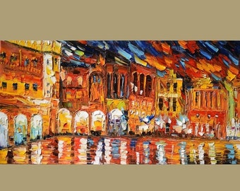 70%OFF ORIGINAL Oil Painting After The Rain 23 X 45 Cityscape Colorful Impressionism Palette Knife Big Yellow Blue Red Rain Art by MArchella