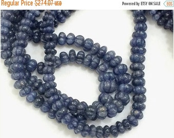 ON SALE 55% Blue Sapphire Burma Melon Beads, Sapphire Necklace, Sapphire Jewelry, Original Sapphire Necklace, 5mm - 8mm Approx. 8 Inch Stran