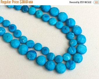 ON SALE 55% Turquoise Faceted Coin Beads, Chinese Turquoise Beads, Turquoise Necklace 6-10mm, 8 Inch, 25 Pcs - GSA8